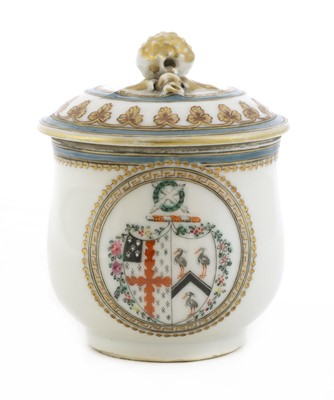 Lot 45 - A Chinese armorial famille rose custard cup and cover