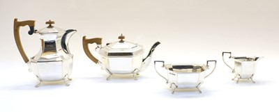 Lot 45 - A silver four piece tea and coffee set
