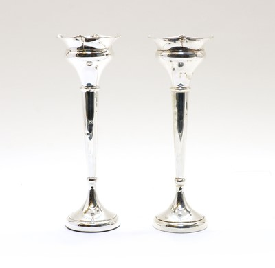 Lot 58 - A pair of silver spill vases