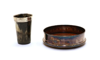Lot 89 - A silver rimmed horn dice shaker/beaker