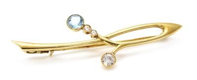 Lot 115 - A gold aquamarine and diamond bar brooch, c.1915