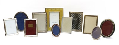 Lot 18 - Eleven various silver-plated and silvered easel back photograph frames
