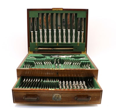 Lot 28 - A silver-plated canteen of cutlery