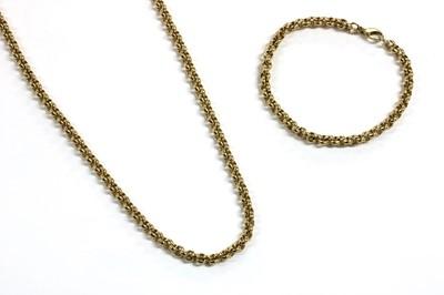 Lot 66 - A 9ct gold belcher link necklace and bracelet suite