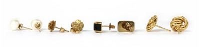 Lot 88 - Four pairs of gold earrings