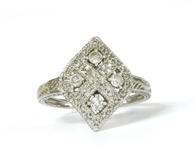 Lot 119 - A 9ct white gold diamond set cluster ring