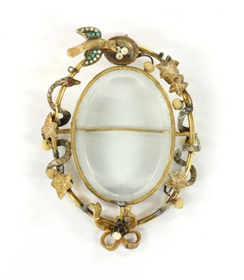 Lot 1007 - A Victorian gold turquoise, split pearl and pearl locket pendant/brooch