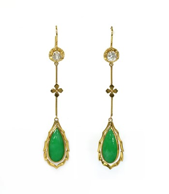 Lot 41 - A pair of gold jade and diamond drop earrings