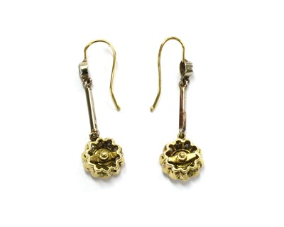 Lot 99 - A pair of gold diamond cluster drop earrings