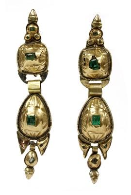 Lot 1 - A pair of 19th century Spanish Catalan emerald drop earrings