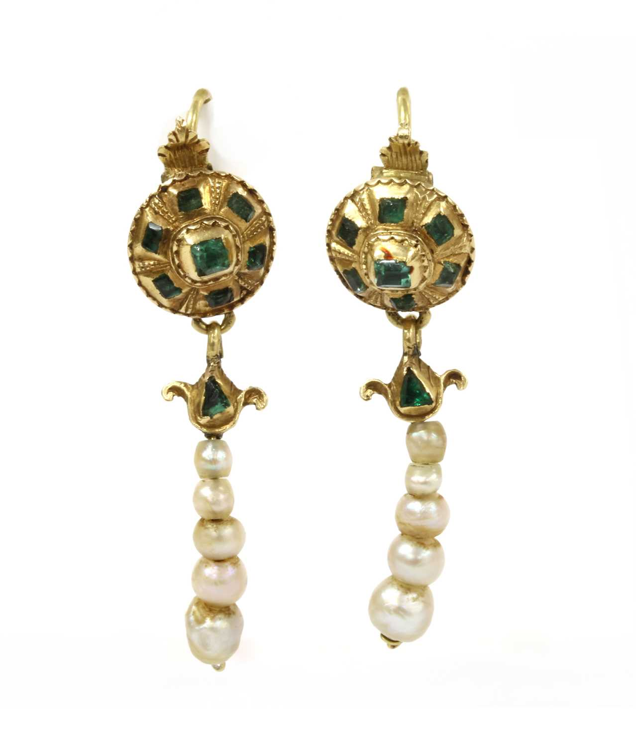 Lot 2 - A pair of Continental gold emerald and pearl drop earrings