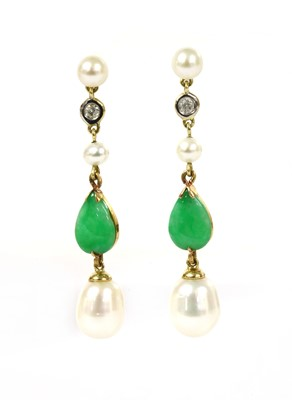 Lot 42 - A pair of gold cultured freshwater pearl, jade and diamond drop earrings