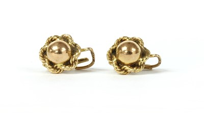 Lot 85 - A pair of Continental gold earrings