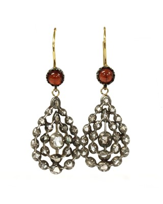 Lot 151 - A pair of silver and gold, diamond and garnet drop earrings