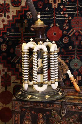 Lot 132 - An ivory and horn table hookah pipe