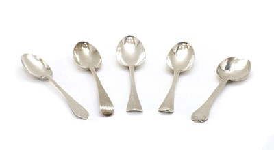 Lot 68 - A collection of five 18th century serving spoons