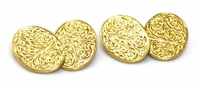 Lot 128 - A pair of 18ct gold chain link cufflinks, by Barnet Henry Joseph