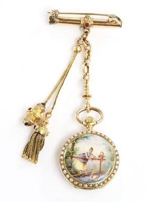 Lot 121 - A Swiss gold enamel and split pearl mechanical fob watch