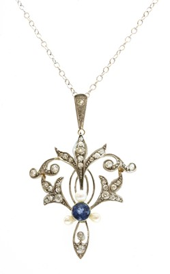 Lot 109 - A sapphire, seed pearl and diamond pendant, c.1910