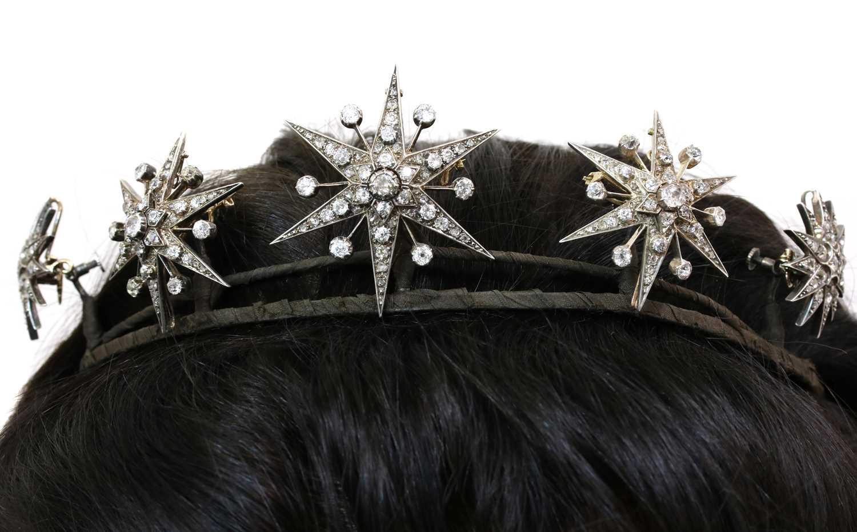 Lot 57 - A Victorian diamond set, five star tiara, c.1870-1880