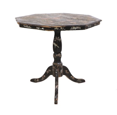 Lot 162 - A Victorian lacquered, mother-of-pearl inlaid and painted octagonal occasional table