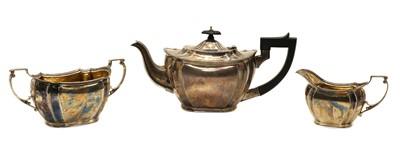 Lot 20 - A silver three piece tea set