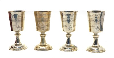 Lot 34 - Four silver limited editions of the 'Hertford Elizabethan Chalice'