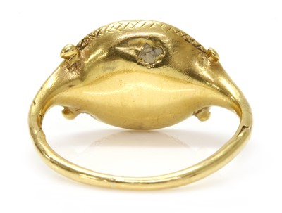 Lot 4 - A gold cornelian intaglio ouroboros ring