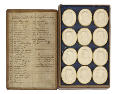 Lot 476 - A set of thirty-six grand tour oval plaster cameo busts