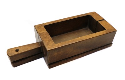 Lot 114 - A rectangular wooden cheese (?) mould