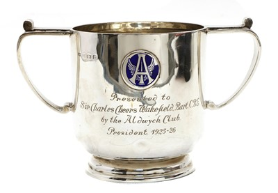 Lot 101 - A silver twin handled cup