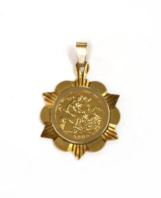 Lot 1094 - An Elizabeth II half sovereign pendant