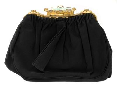 Lot 184 - A black grossgrain gem set evening clutch bag, c.1930