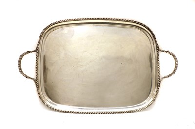 Lot 22 - A twin handled silver serving tray