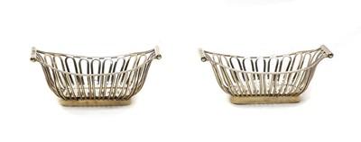 Lot 8 - A pair of Edwardian silver basket bon bon dishes