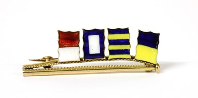 Lot 1043 - A gold enamel signal flag brooch, by Benzie of Cowes
