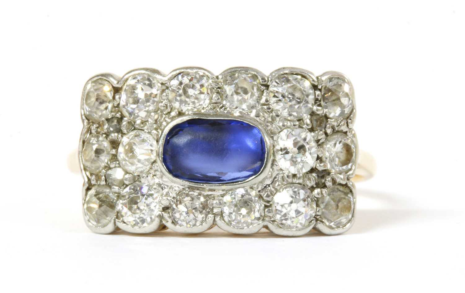 Lot 5 - A Victorian gold sapphire and diamond cluster ring