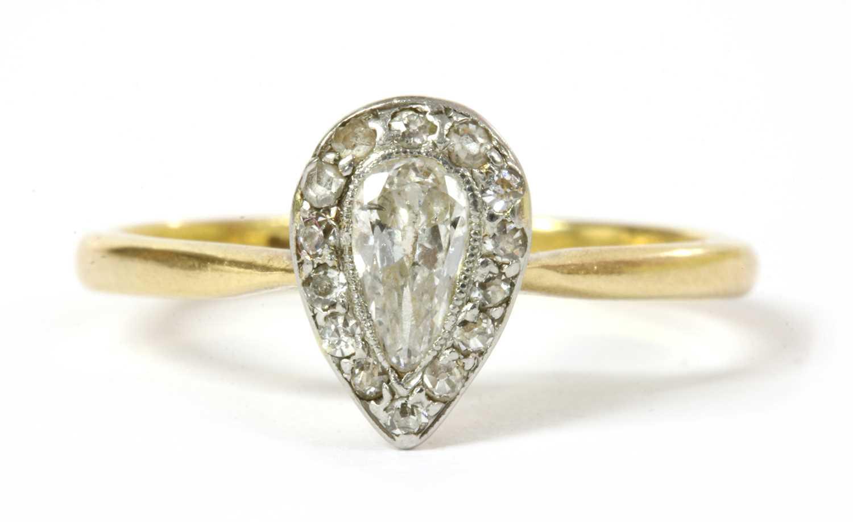 Lot 3 - An Edwardian pear cut diamond cluster