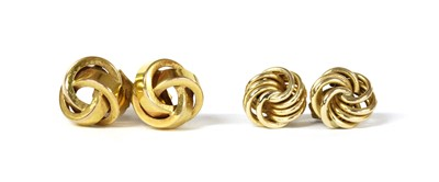 Lot 104 - Two pairs of gold knot earrings