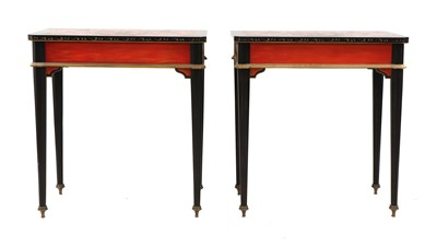 Lot 1 - A pair of Napoleon III-style lacquered chinoiserie side tables