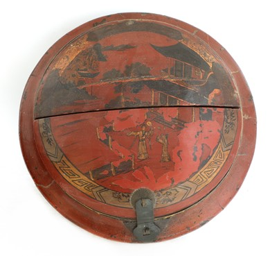 Lot 4 - A Chinese red-lacquered food carrier