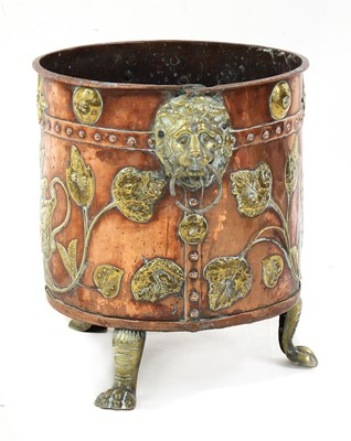 Lot 7 - A copper and brass coal bucket