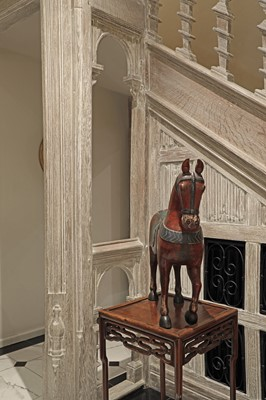 Lot 9 - An Indian polychrome painted wooden horse