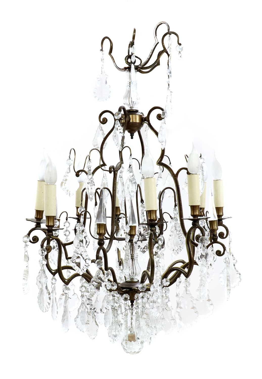 Lot 15 - A cut-glass and gilt-metal chandelier