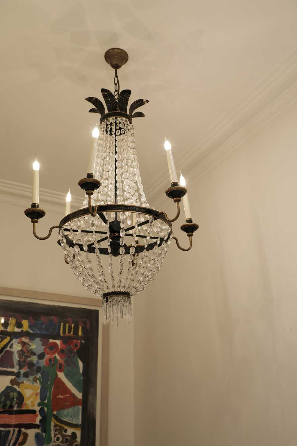 Lot 57 - A French Empire-style cut glass and toleware tent and bag chandelier
