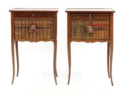 Lot 34 - A pair of parquetry inlaid night tables