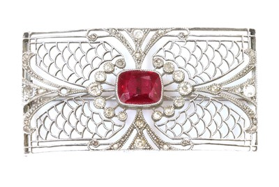 Lot 156 - An Art Deco synthetic ruby and diamond rectangular plaque brooch