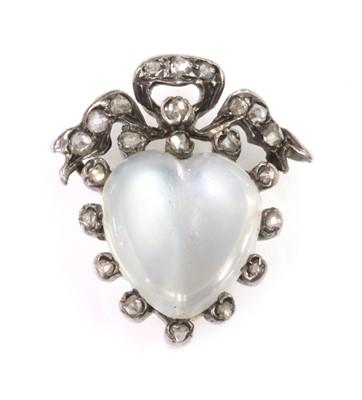 Lot 112 - A Victorian moonstone and diamond heart brooch, c.1880
