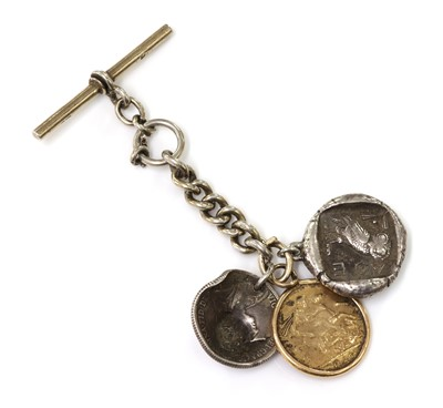 Lot 79 - A sterling silver fob chain with a sovereign dated 1926