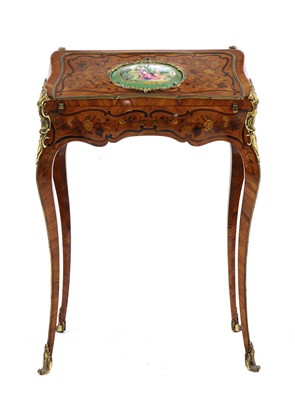 Lot 51 - A small French Louis XV-style kingwood and marquetry bureau de dame